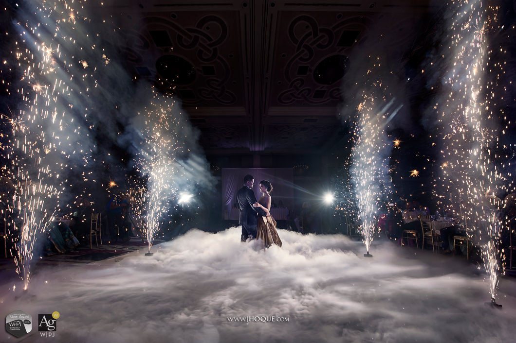 First Dance with Indoor Fireworks and Dry Ice | Luxury Asian Wedding Photography Wales | WPPI Award