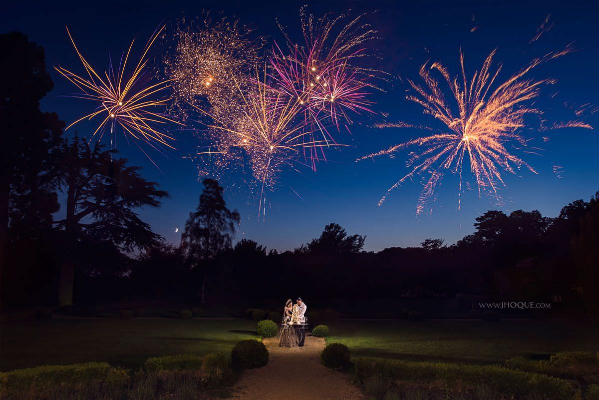 Wedding Fireworks | Luxury Indian Fusion Wedding Photography at Stapleford Park