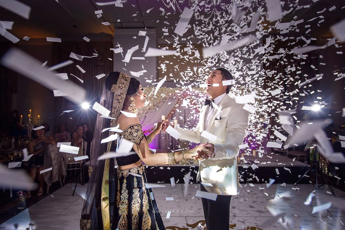 First Dance Confetti | Luxury Indian Fusion Wedding Photography | Stapleford Park Leicester | 040