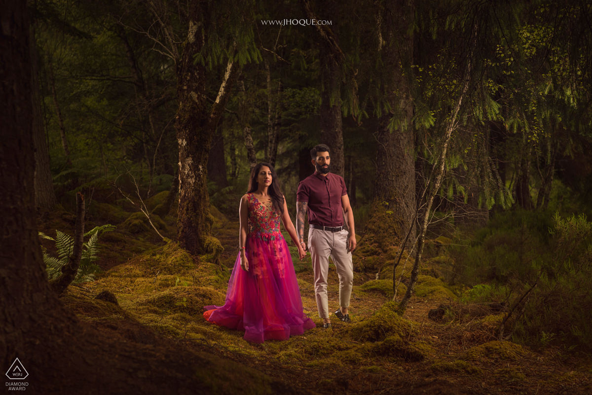 Couple in forest | Scotland Pre Wedding | Luxury Asian Wedding Photography | WPJA Award